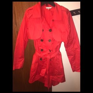 CAbi Convertible Poppy red Trench Coat or Vest